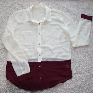 Double Zero Maroon Dipped Button Down Blouse NWOT